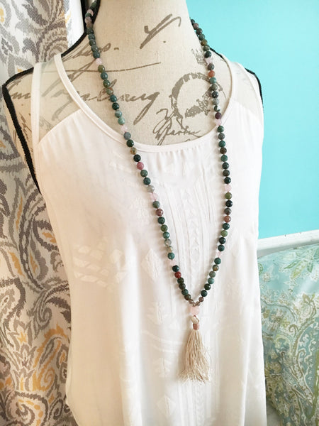 Faceted Indian Agate Mala Necklace