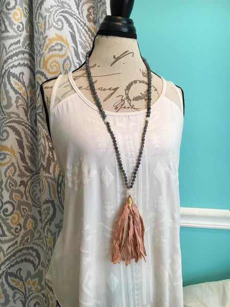 Labradorite and Moonstone Sari Silk Tassel Mala Bead Necklace