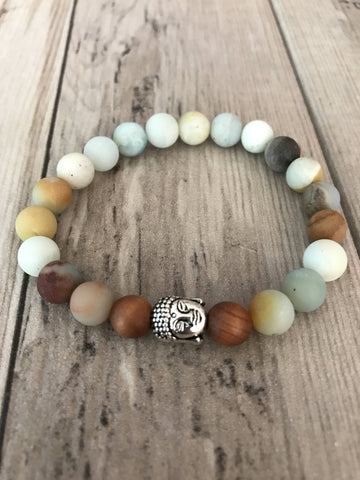Buddha Amazonite Mala Bracelet with Sandalwood