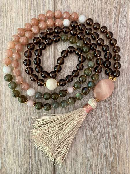 Smokey Quartz Full Moon Mala