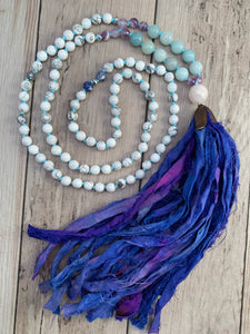 Gemstone Mala Necklace with Sari Silk Tassel