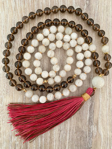 Moonstone and Smokey Quartz Mala Necklace