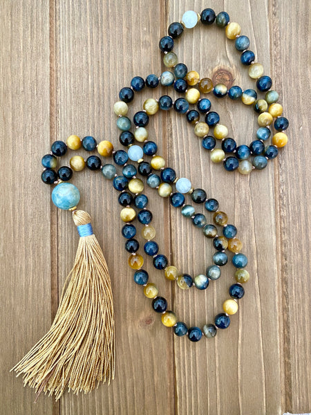 Honey and Blue Tigers Eye Mala Necklace