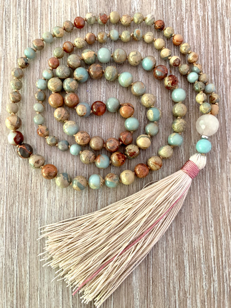 African Opal Mala Bead Necklace
