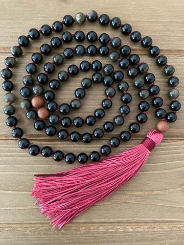 Obsidian Red Tassel Mala Necklace