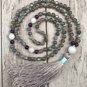 Labradorite and Moonstone Mala Necklace