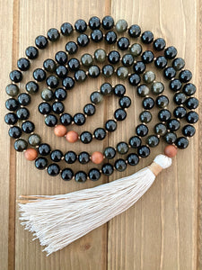 Obsidian and Sandalwood Mala Bead Necklace