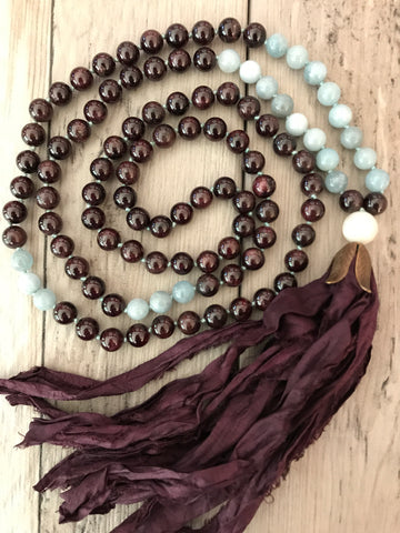 Garnet and Aquamarine Mala Necklace