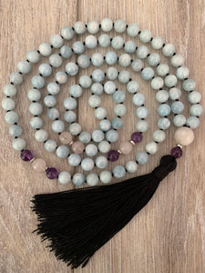 Aquamarine and Rose Quartz Mala Necklace