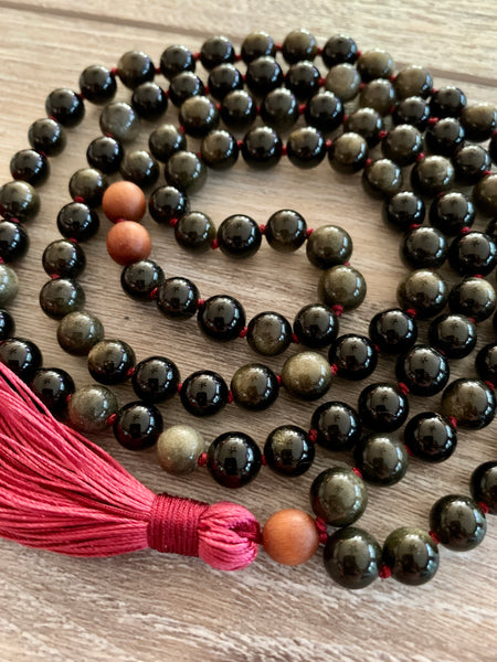 Obsidian Red Tassel Necklace