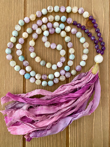 Shades of Pink Sari Silk Tassel Mala