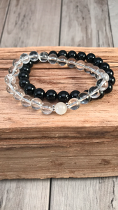 Yin and Yang Mala Bracelet Stack