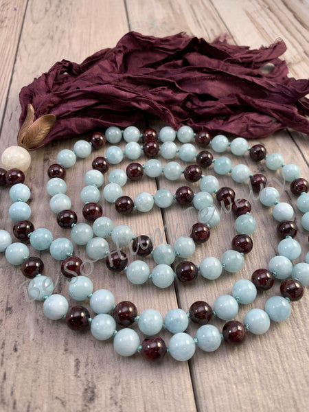 Aquamarine and Garnet Sari Silk Tassel Mala Necklace