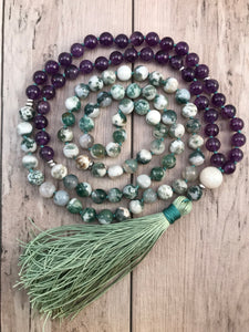 Amethyst and Tree Agate Mala Necklace