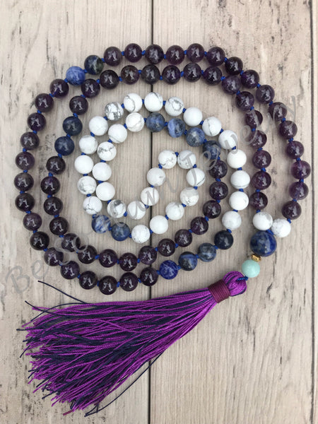Amethyst Mala Bead Necklace