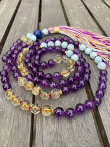 Amethyst Aquamarine and Citrine Mala Necklace