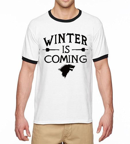 2017 Summer Short Sleeve Shirt Game of Thrones Winter Is Coming Men Ringer T Shirt 100% Cotton High Quality Male T-Shirts S-XXL