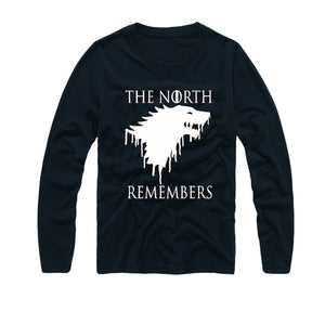 Casual Game of Thrones T Shirt Men The North Remembers Blood Wolf