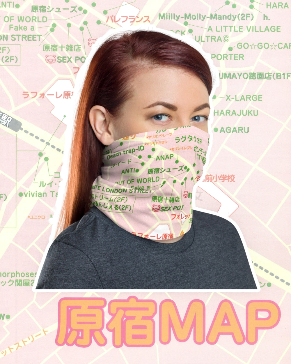 Harajuku Map Neck Gaiter