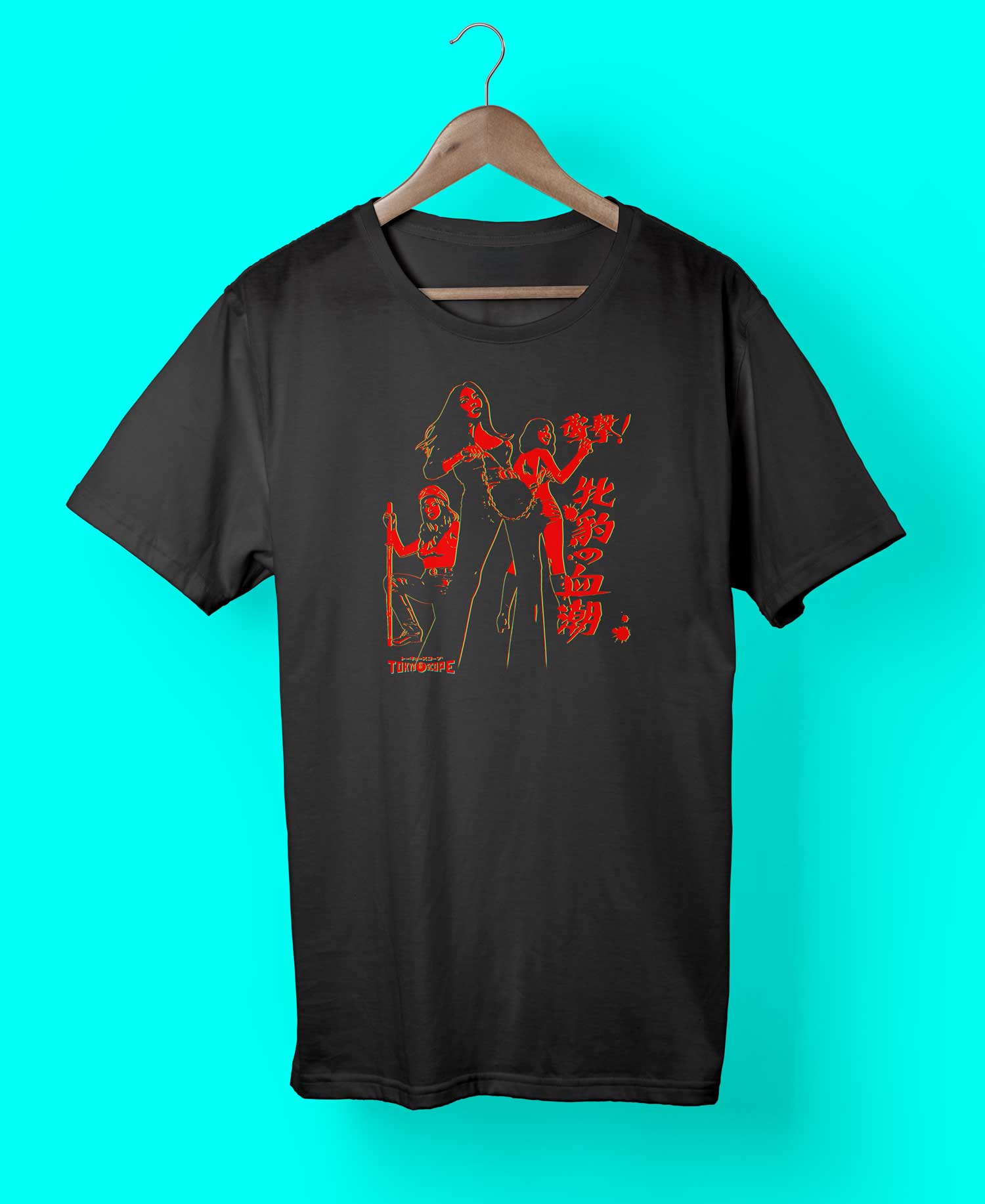 "YANKII STYLE ""Pinky Violence"" Unisex T-shirt by Haruki Ara (Red on Black)"