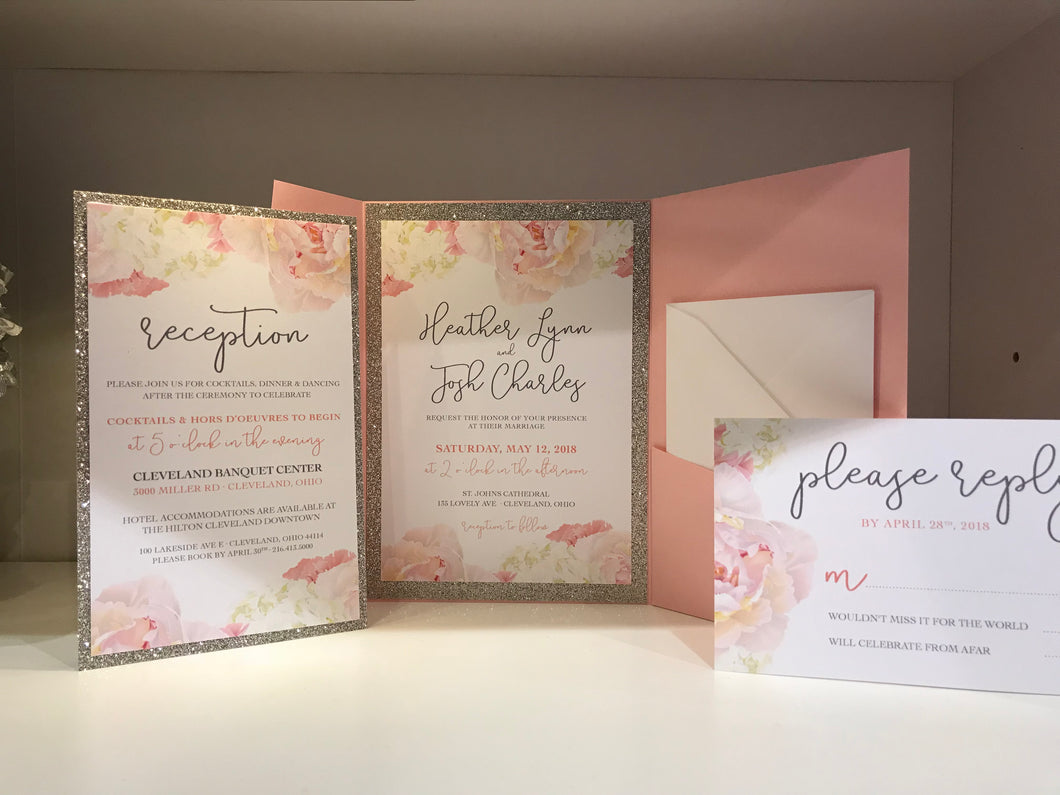 Rose & Gold Floral Pocket Card Suite