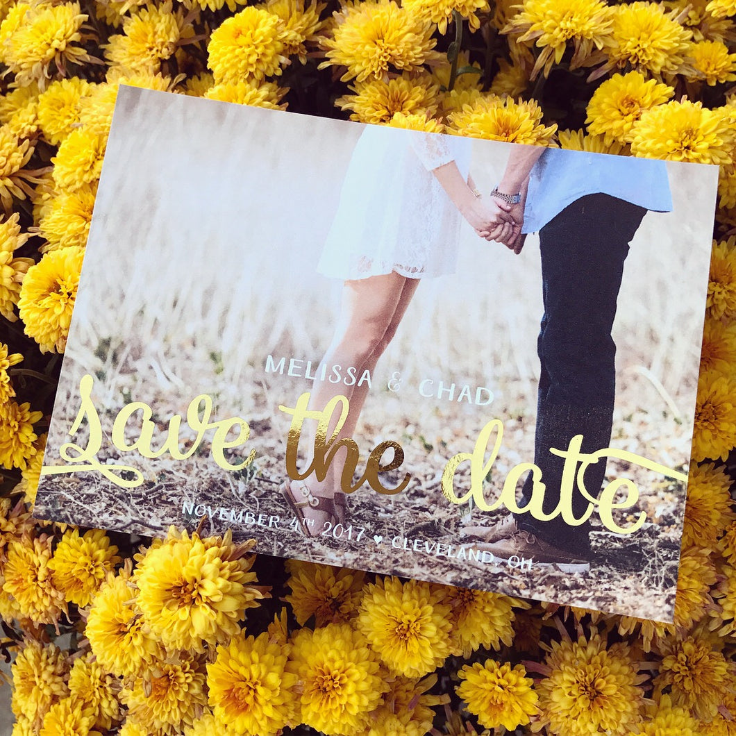 Pretty In Gold :: Gold Foil Save the Date Cards