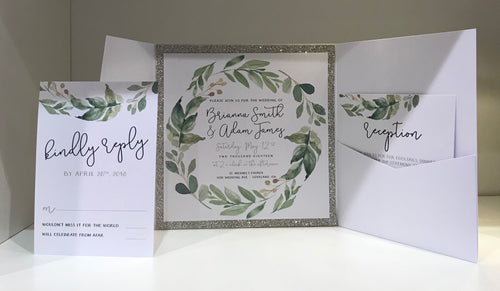 Shimmer Square Greenery Wedding Pocket Card