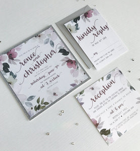 Shimmery Square Floral Wedding Invitations