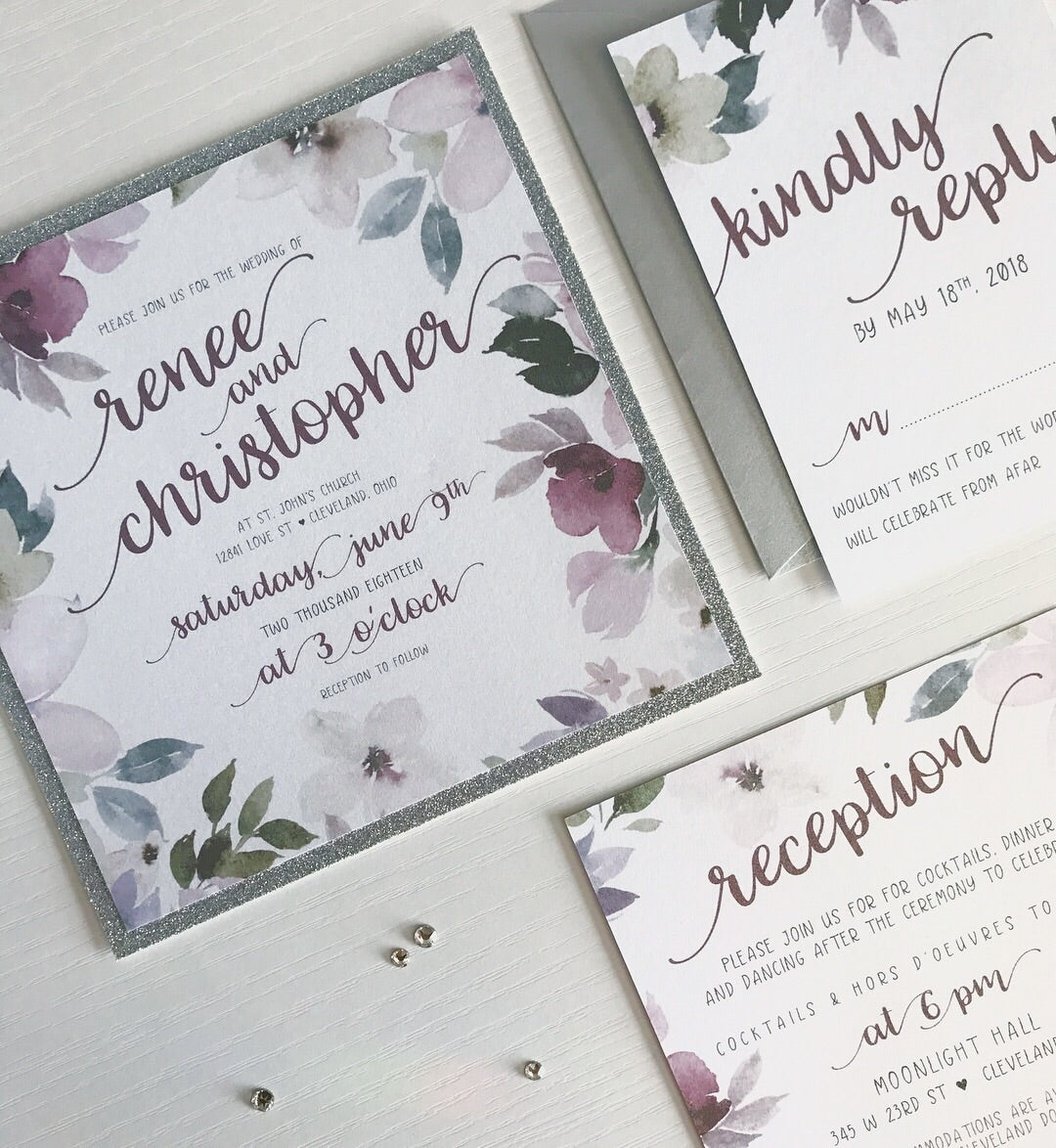 Shimmery square floral wedding invitations keewi designs llc shimmery square floral wedding invitations monicamarmolfo Image collections