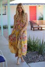 Load image into Gallery viewer, Passion Island Sunset Canary Floral Print Maxi Dress, Free Shipping!