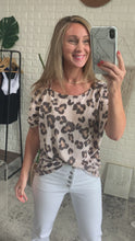 Load and play video in Gallery viewer, Amberlynn Taupe Leopard Print Short Sleeve Once Shoulder Strapped Top, Free Shipping