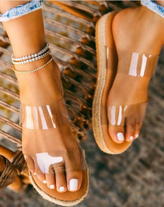 Clear Espadrille Platform Sandals! Free Shipping!