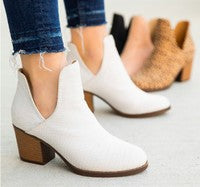 Luna White Booties Textured, Free Shipping!