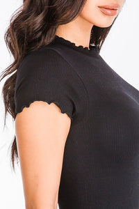 High neck bodysuit with lettuce edge and half sleeve, Free Shipping!