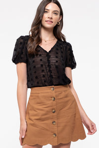 Sheer Romance Black Swiss Dot Short Sleeve Faux Button-Up Top, Free Shipping!