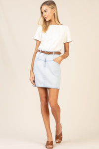 Breath of Fresh Air Light Wash Distressed Mini Skirt, Free Shipping!