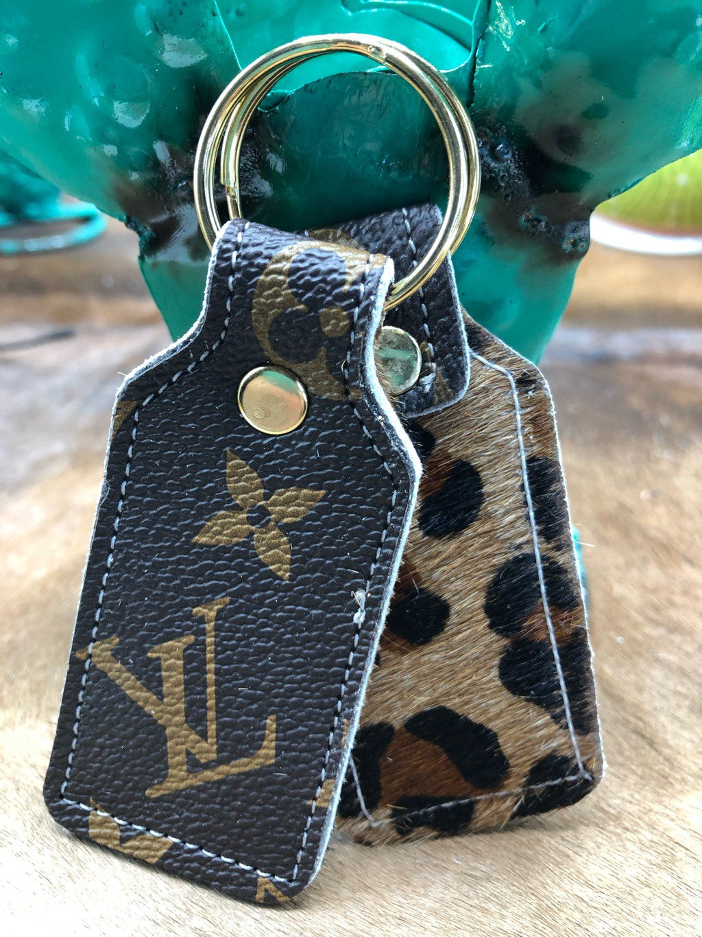 Handmade LV leather rectangle Keychains key Ring fob