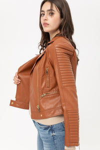 Watch Out Vegan Leather Moto Jacket, Free Shipping!