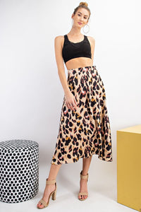 Next Time Satin Leopard Print Midi Skirt, Free Shipping!