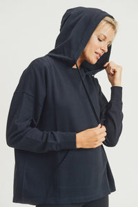 Mono B Boxy-Cut French Terry Hoodie Pullover, Free Shipping!