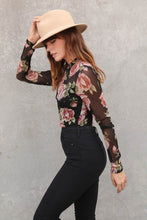 Load image into Gallery viewer, Get Together Black Floral Print Long Sleeve Bodysuit, Free Shipping!