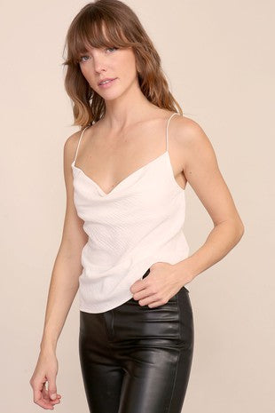 Joslin Winter White Cowl Neck T-Back Top