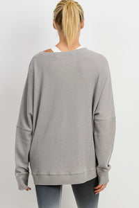 Mono B Waffle Ribbed Roundneck Pullover, Free Shipping!