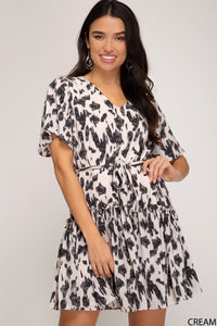 Chase The Idea Belt Detail Animal Print Dress, Free Shipping!