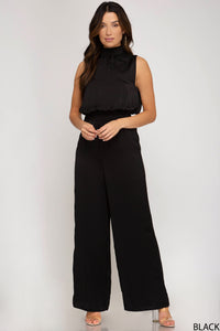 Black Sleeveless Silk Jumpsuit, Free Shipping!