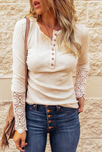 Load image into Gallery viewer, Oatmeal Ribbed Long Sleeve Top With Button And Crochet Details, Free Shipping!