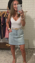 Load and play video in Gallery viewer, Breath of Fresh Air Light Wash Distressed Mini Skirt, Free Shipping!
