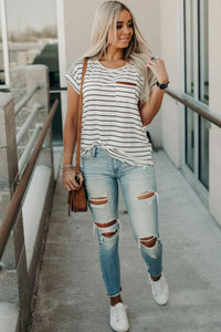 Stay Stylish White Striped Suede Pocket Top, free Shipping!