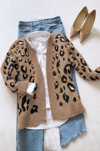 Playful Personality Beige/Black Animal Print Cardigan, Free Shipping!
