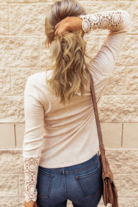 Oatmeal Ribbed Long Sleeve Top With Button And Crochet Details, Free Shipping!